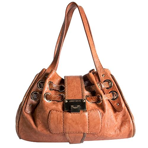 Jimmy Choo Riki Embossed Trim Hobo Handbag