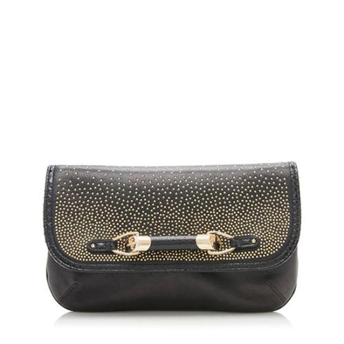 Jimmy Choo Studded Leather Snakeskin Zora Dgrad Flap Clutch