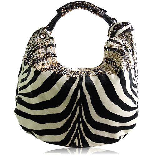 Jimmy Choo Zebra Print Studded Hobo Handbag