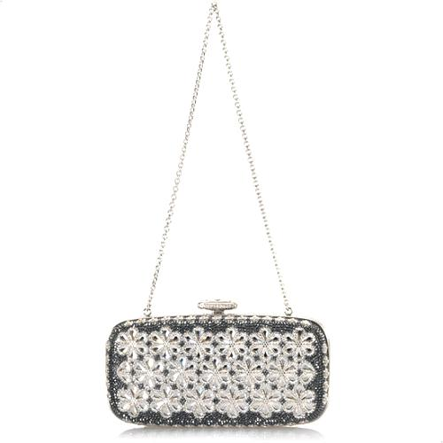 Judith Leiber Rounded Rectangle Flower Evening Clutch