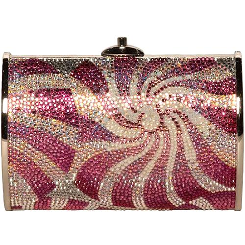 Judith Leiber Small Curved Oval Pink Peppermint Clutch