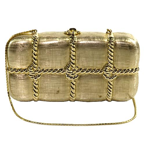 Judith Leiber Vintage Gold Minaudiere Evening Bag
