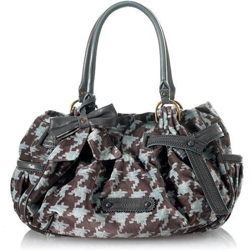 Juicy Couture Brogue Houndstooth Day Fluffy Satchel Handbag