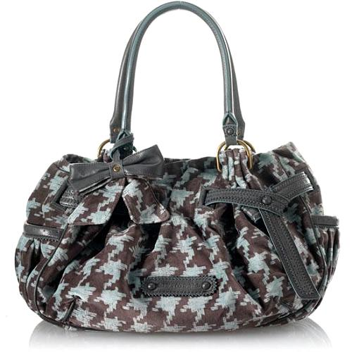 Juicy Couture Brogue Houndstooth Day Fluffy Satchel Handbag