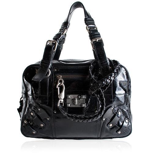 Juicy Couture Crinkled Patent Leather Lock-It Satchel Handbag