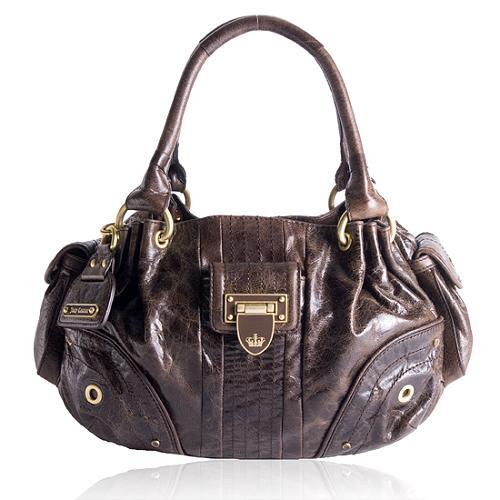 Juicy Couture Flap Lock Fluffy Satchel Handbag