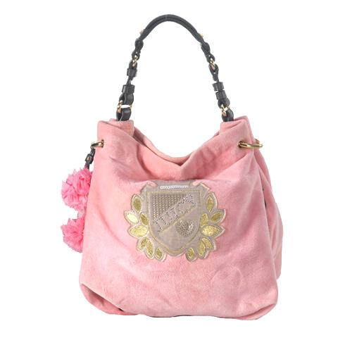 Juicy Couture Velour Pom Pom Hobo Handbag