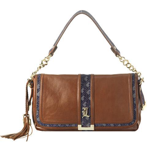 L.A.M.B. Leather Pavia Flap Shoulder Handbag