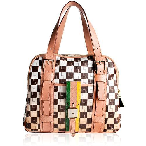 L.A.M.B. Oxford Triple Zip Satchel Handbag