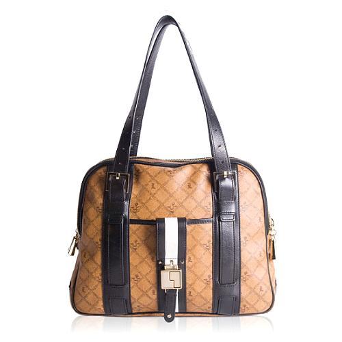 L.A.M.B. Signature Oxford Triple Zip Satchel Handbag