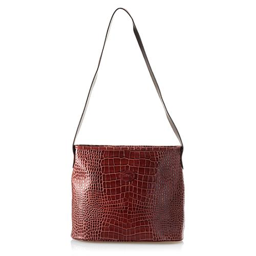 Longchamp Croc Embossed Shoulder Handbag