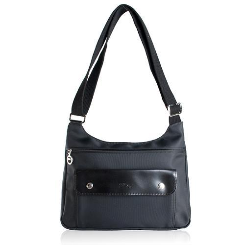 Longchamp Nylon Leather Shoulder Handbag
