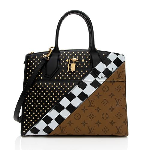 Louis Vuitton Calfskin Reverse Monogram Studded City Steamer MM Tote