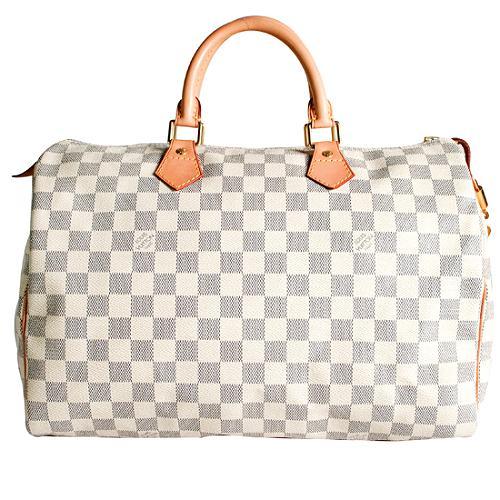 Louis Vuitton Damier Azur Canvas Speedy 35 Satchel Handbag