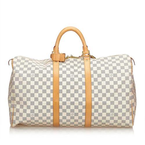 Louis Vuitton Damier Azur Keepall 50 Duffel Bag