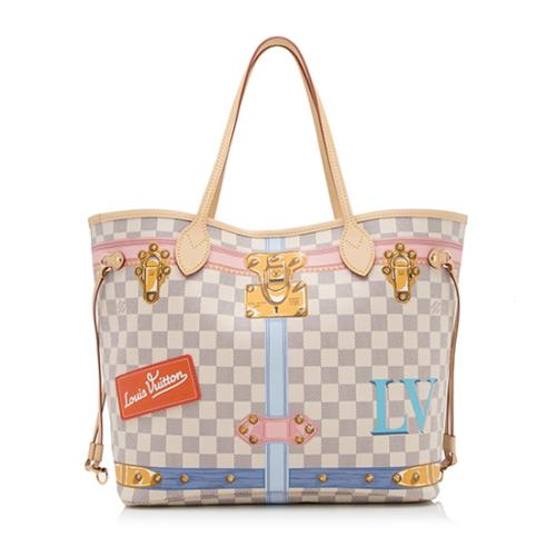 Louis Vuitton Damier Azur Summer Trunk Neverfull MM Tote