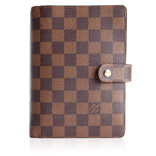 Louis Vuitton Damier Ebene Canvas Medium Ring Agenda Cover