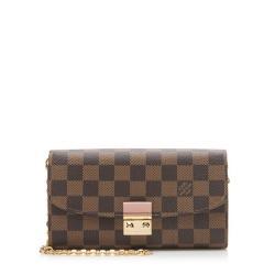 Louis Vuitton Damier Ebene Croisette Chain Wallet