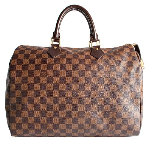 Louis Vuitton Damier Ebene Speedy 35 Satchel Handbag