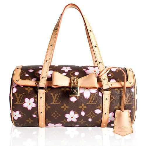 Louis Vuitton Limited Edition Cherry Blossom Papillon Satchel Handbag