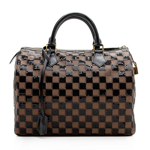 Louis Vuitton Limited Edition Damier Ebene Paillettes Speedy 30 Satchel
