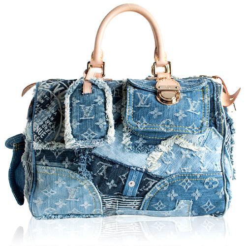 Louis Vuitton Limited Edition Monogram Denim Patchwork Speedy Satchel Handbag