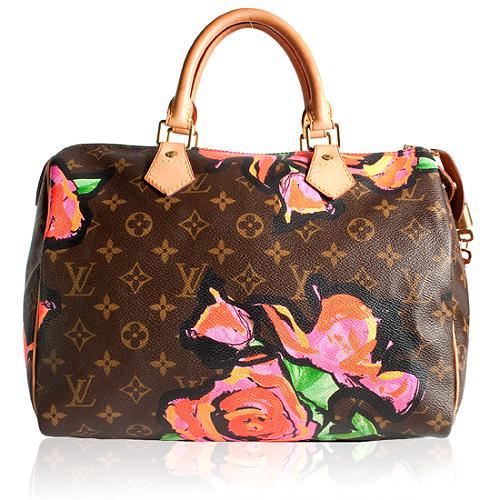 Louis Vuitton Limited Edition Monogram Roses Speedy Satchel Handbag