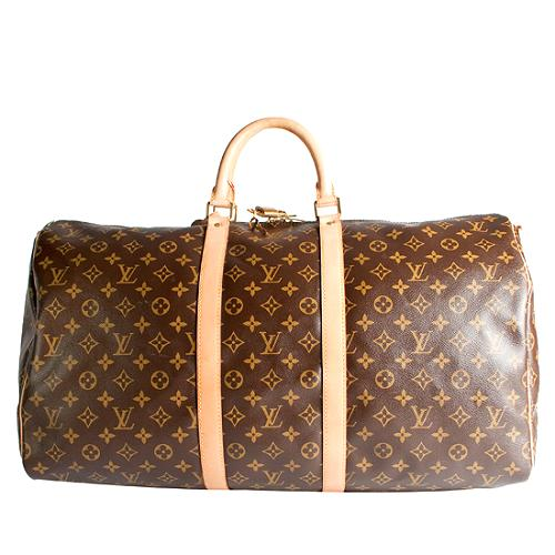 Louis Vuitton Monogram Canvas Keepall 55 with Shoulder Strap Duffel Handbag