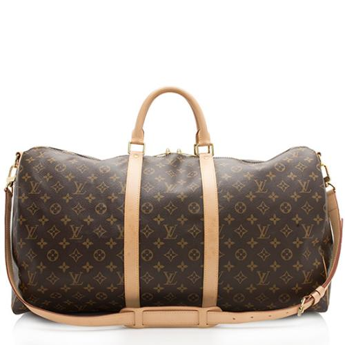 Louis Vuitton Monogram Canvas Keepall Bandouliere 55 Duffel Bag