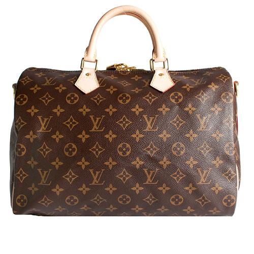 Louis Vuitton Monogram Canvas Speedy 35 Satchel Handbag with Bandouliere Strap