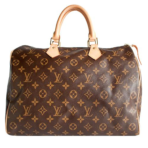 Louis Vuitton Monogram Canvas Speedy 35 Satchel Handbag