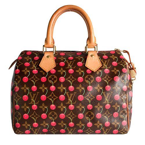 Louis Vuitton Monogram Cerises Speedy 25 Satchel Handbag