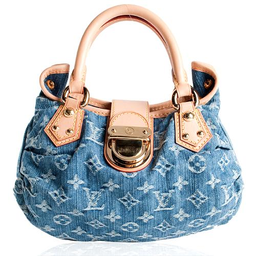 Louis Vuitton Monogram Denim Pleaty Satchel Handbag