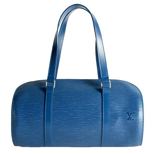 Louis Vuitton Toledo Blue Epi Leather Soufflot Satchel Handbag
