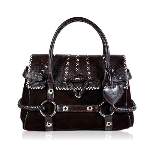 Luella Stitched Leather Satchel Handbag