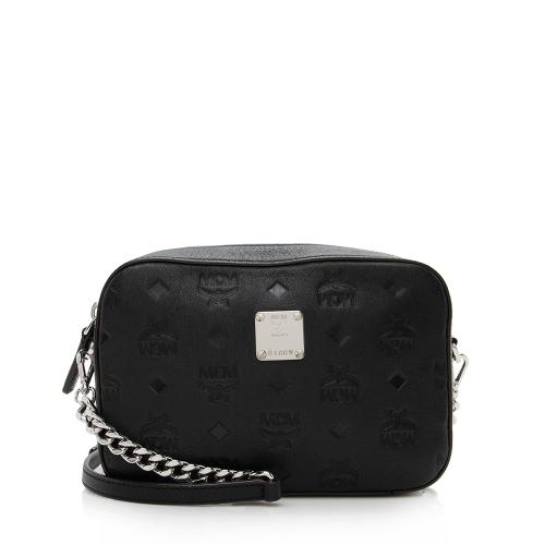 MCM Embossed Leather Chain Camera Bag