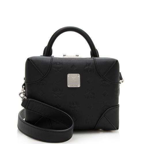 MCM Embossed Leather Top Handle Shoulder Bag