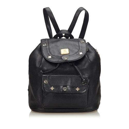 MCM Vintage Leather Logo Charms Drawstring Backpack
