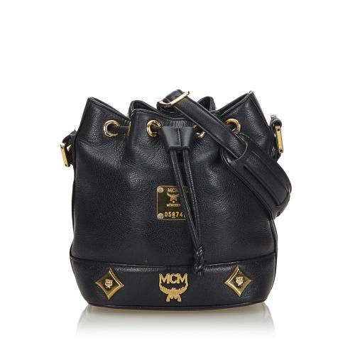 MCM Leather Drawstring Bucket Bag