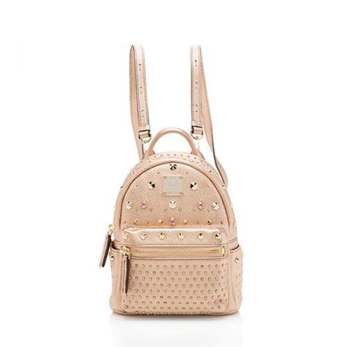 MCM Metallic Leather Stark Special Bebe Boo Mini Backpack