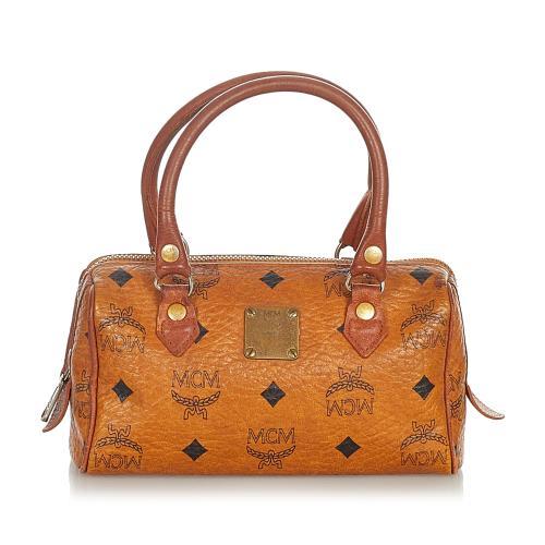 MCM Mini Visetos Leather Boston Bag