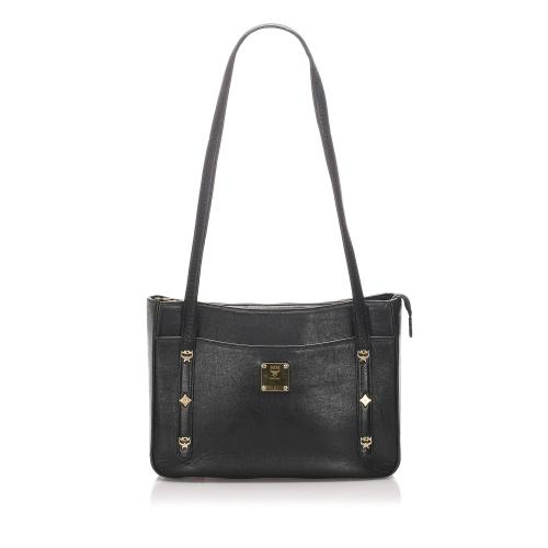 MCM Studded Leather Shoulder Bag