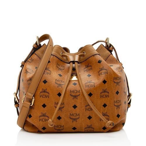 MCM Visetos Essential Drawstring Bucket Bag