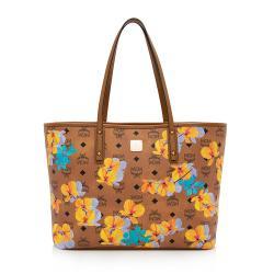 MCM Visetos Floral Print Medium Essential Zip Top Shopper Tote