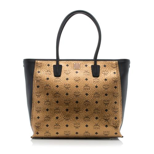 MCM Visetos Large Shopper Tote