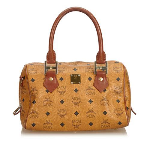 MCM Vintage Visetos Leather Small Boston Bag