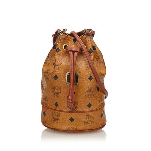 MCM Vintage Visetos Leather Bucket Bag