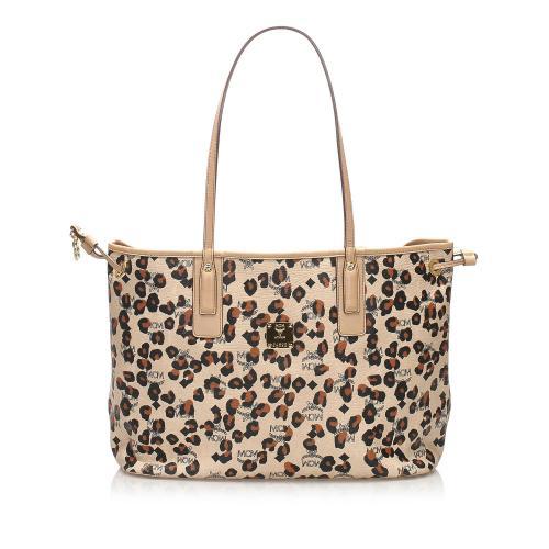 MCM Visetos Leopard Print Leather Tote Bag