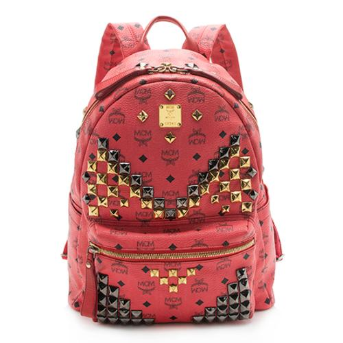 MCM Visetos Studded Stark Medium Backpack