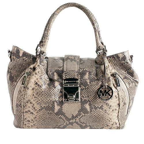 MICHAEL MIichael Kors Snake-Embossed Leather Jenna Large Tote